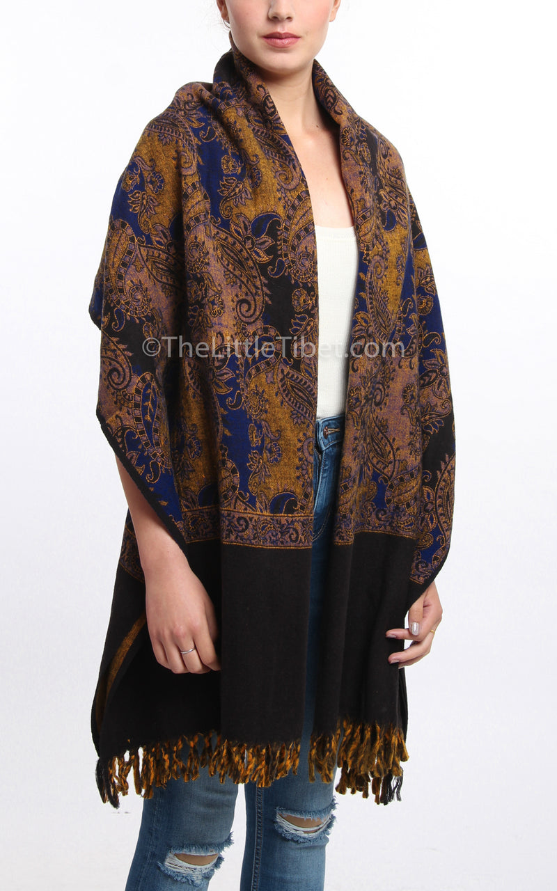 Multi-coloured blue paisley designed blanket scarf tibet shawl with tassels