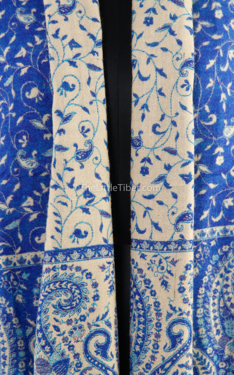 Close up lapis lazuli cream paisley design reversible tibet shawl  free uk shipping