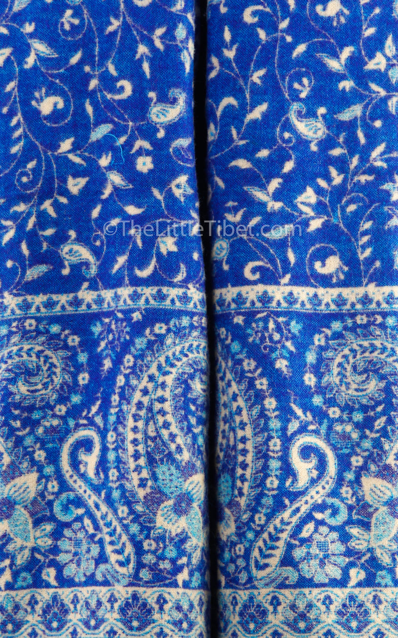 paisley close up Close up lapis lazuli cream  reversible tibet shawl