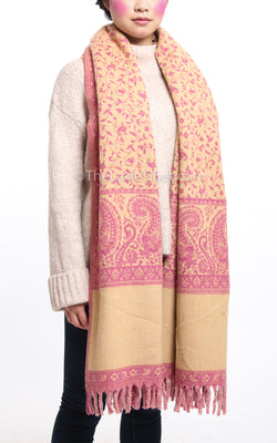 Bubblegum pink cream paisley design reversible tibet shawl  with tassels
