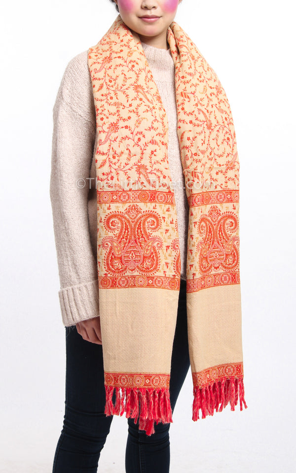 Bright orange  paisley design reversible cream close up tibet shawl  with tassels