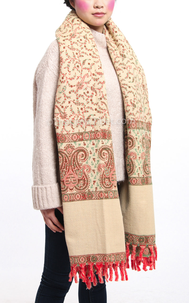 cream reversible side Bronze  paisley design tibet shawl  with tassels