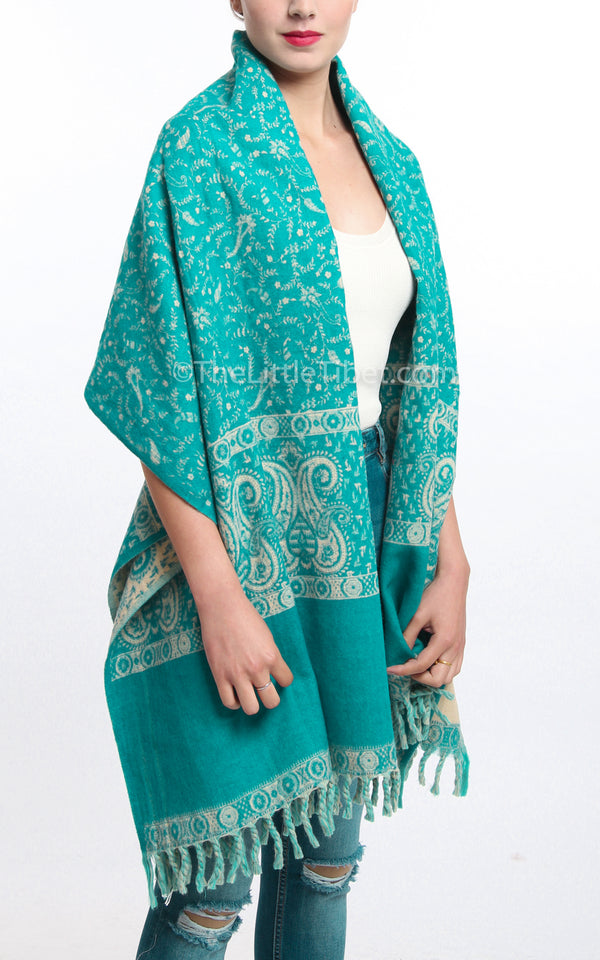 himalayan aqua cream paisley design reversible tibet shawl  with tassels