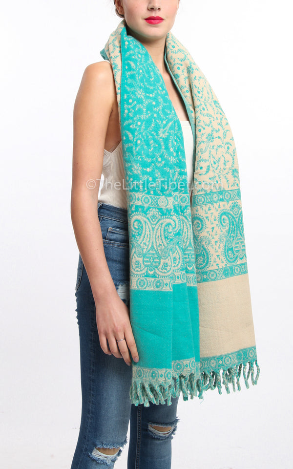 Light Aqua blue cream paisley design tibet shawl chunky knit