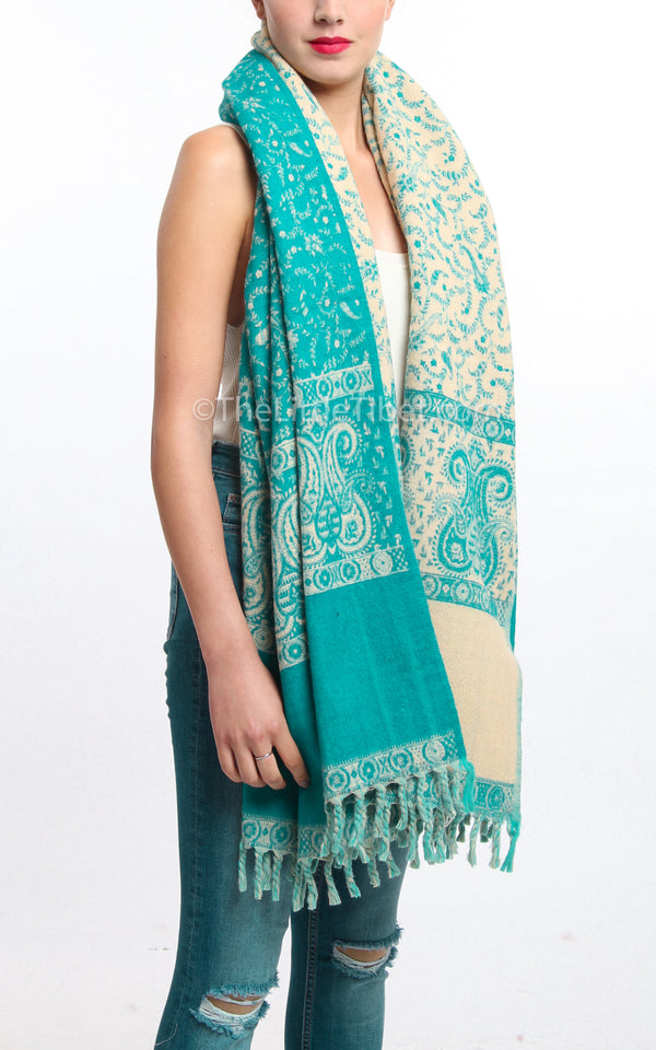 Viking aqua cream paisley design reversible tibet shawl  with tassels