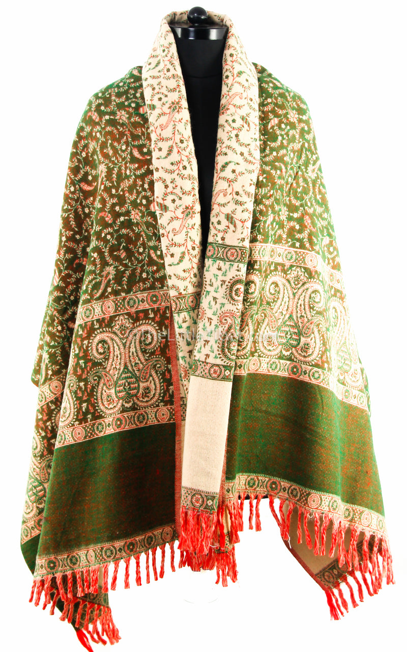 close up Green cream paisley design tibet shawl  free uk shipping