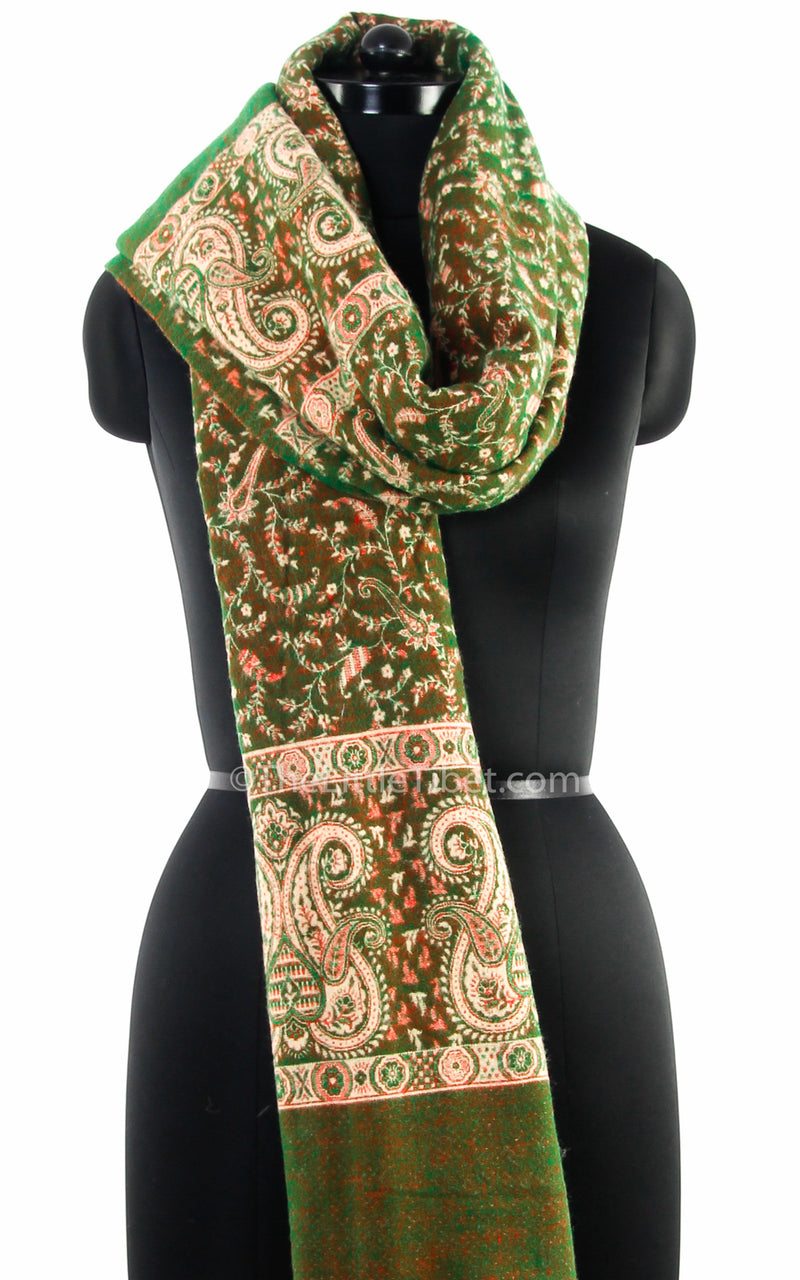 Green cream paisley design tibet shawl styled around neck  free uk shipping
