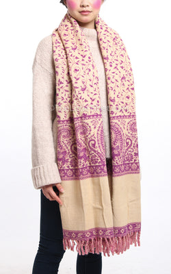 Magenta cream paisley design reversible tibet shawl  with tassels