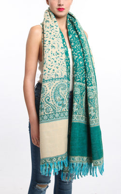 Luxury pine green paisley design tibet shawl with reversible cream accents