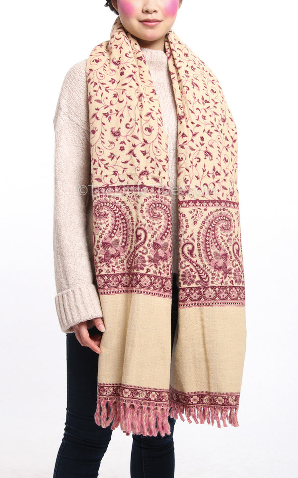 Cream paisley Burgundy plum pink  reversible tibet shawl with tassels