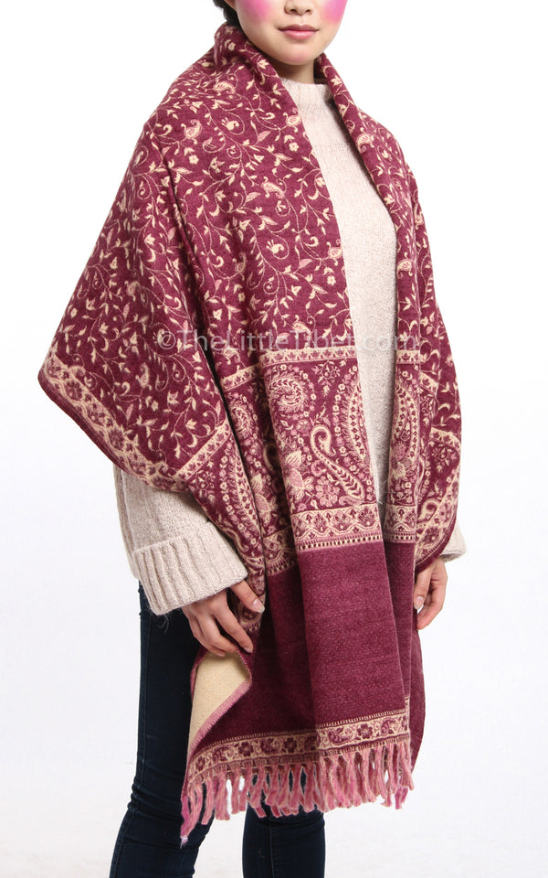 Burgundy plum pink paisley design reversible tibet shawl with tassels