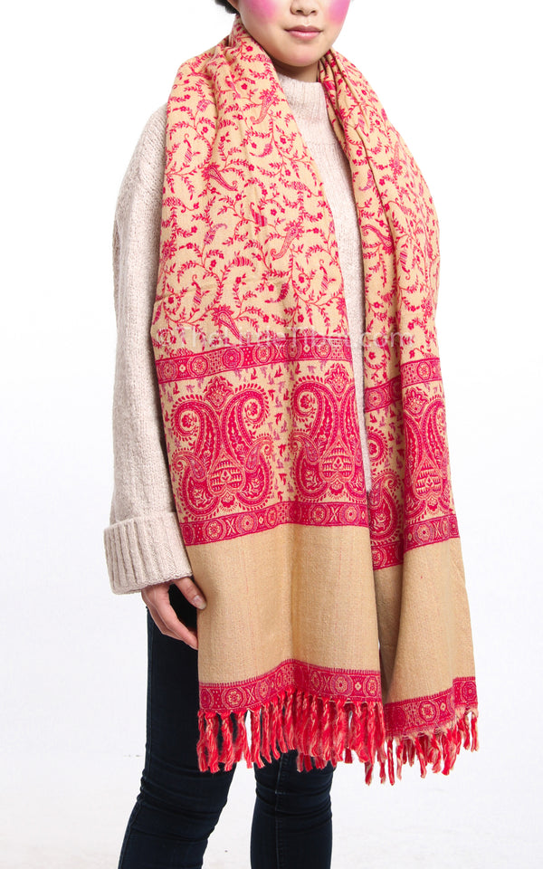 Bright pink paisley design  tibet shawl with reversible cream accents