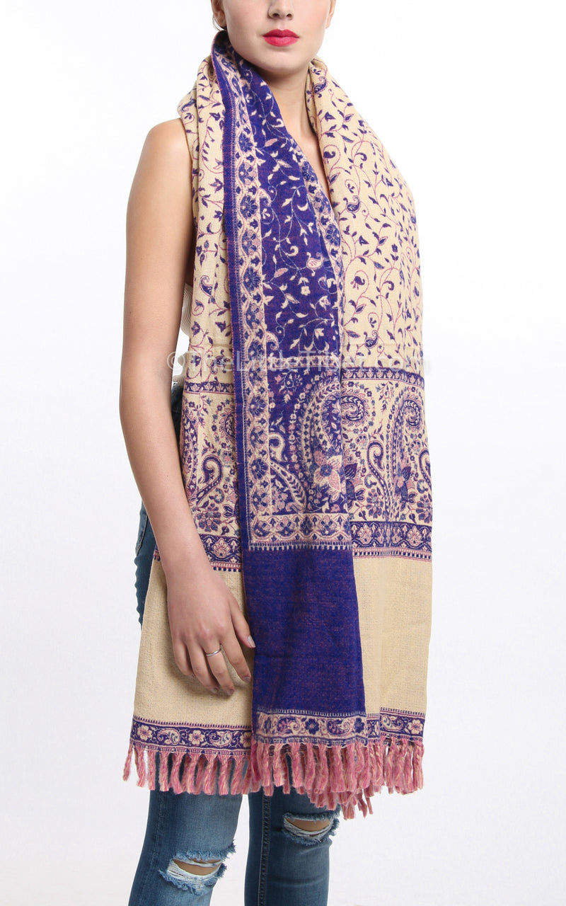 Bright purple and cream detailed paisley design reversible tibet shawl with  tassels