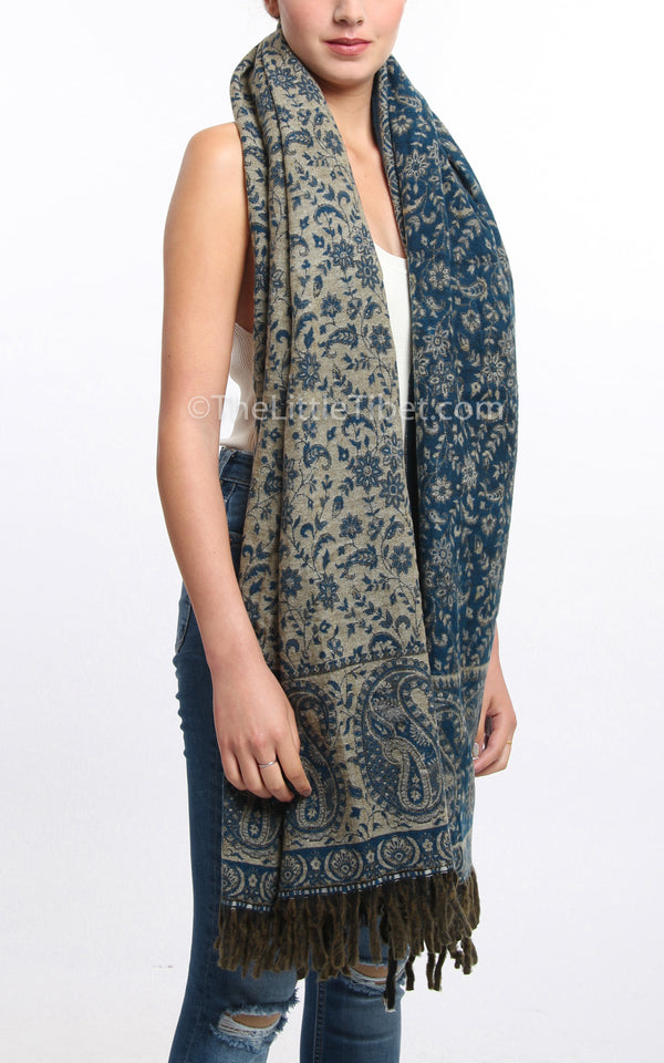 dark blue paisley design reversible himalayan tibet shawl  with tassels