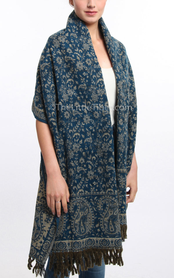dark blue paisley design reversible himalayan tibet shawl free uk shipping
