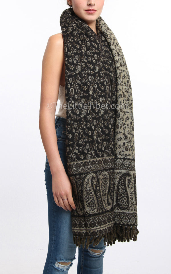 Dark seaweed  green cream paisley design reversible tibet shawl styled as a chunky knit