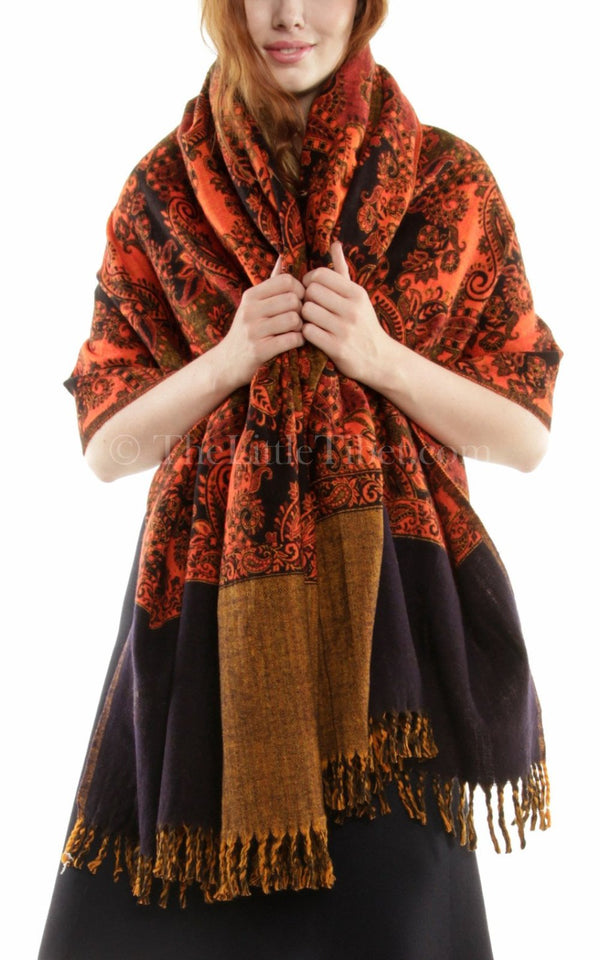 Burnt orange  paisley design reversible himalayan tibet wool shawl  with black accents
