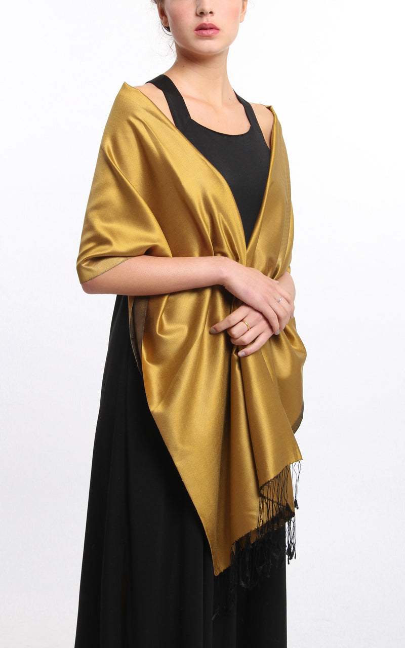 Luxury 100% pure silk gold  reversible pashmina draped around shoulders
