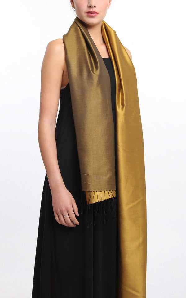 Luxury 100% pure silk gold  reversible pashmina with tassels free uk shipping