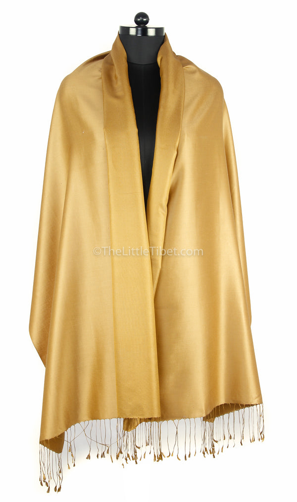 Luxury 100% pure silk light gold  reversible pashmina draped around shoulders