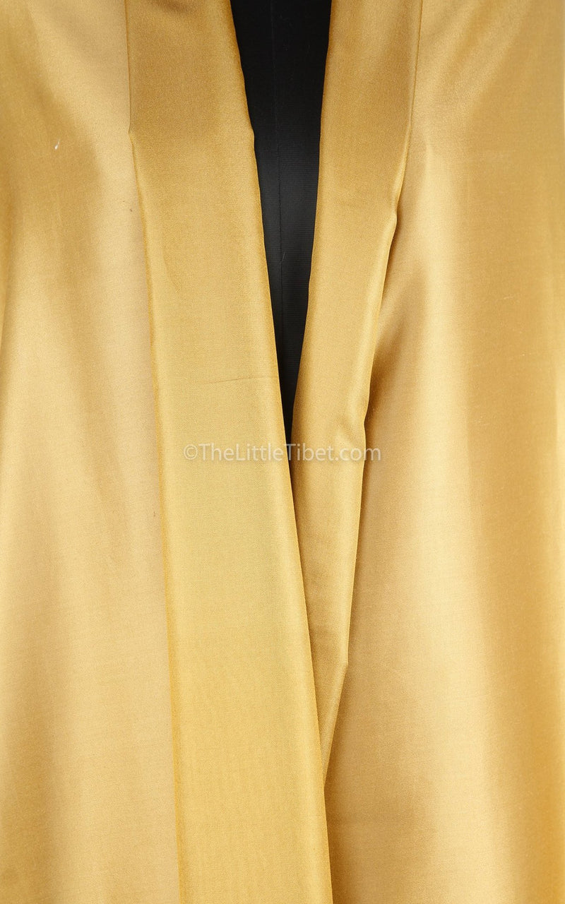 Luxury 100% pure silk light gold  reversible pashmina close up