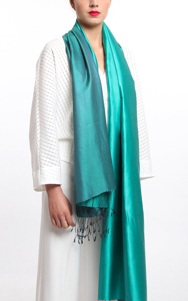 Luxury 100% pure mint green plain reversible pashmina with tassels free uk shipping