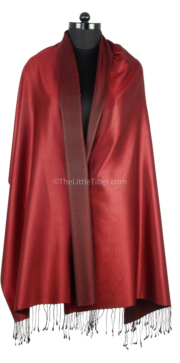 Luxury 100% pure silk fine red burgundy  reversible pashmina draped around shoulders