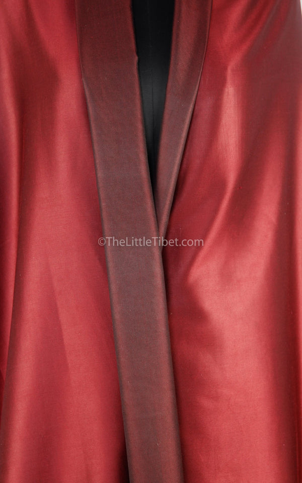 Luxury 100% pure silk fine red burgundy  reversible pashmina close up