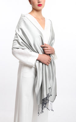 Luxury 100% pure shining silver  reversible pashmina draped around shoulders
