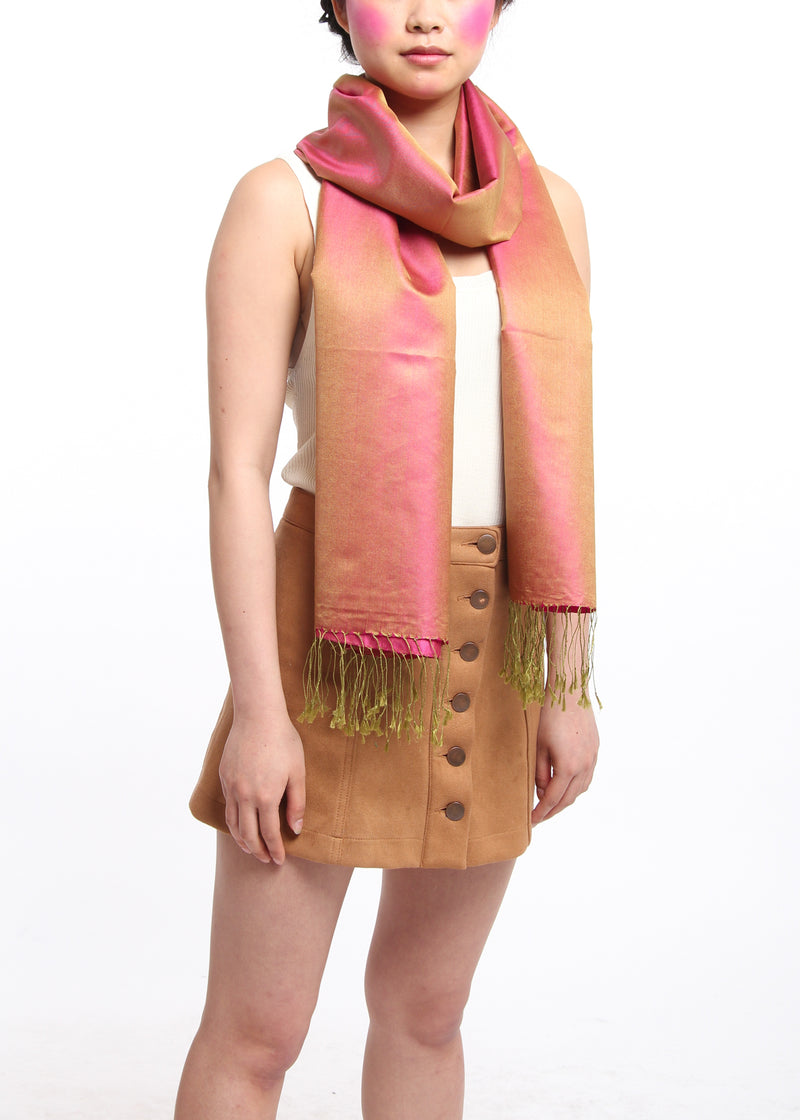 Luxury 100% pure fuschia orange reversible pashmina with tassels free uk shipping