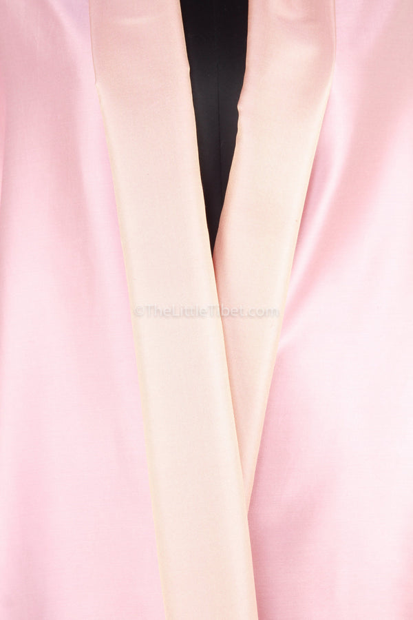 Luxury 100% pure silk baby pink  cream reversible pashmina close up