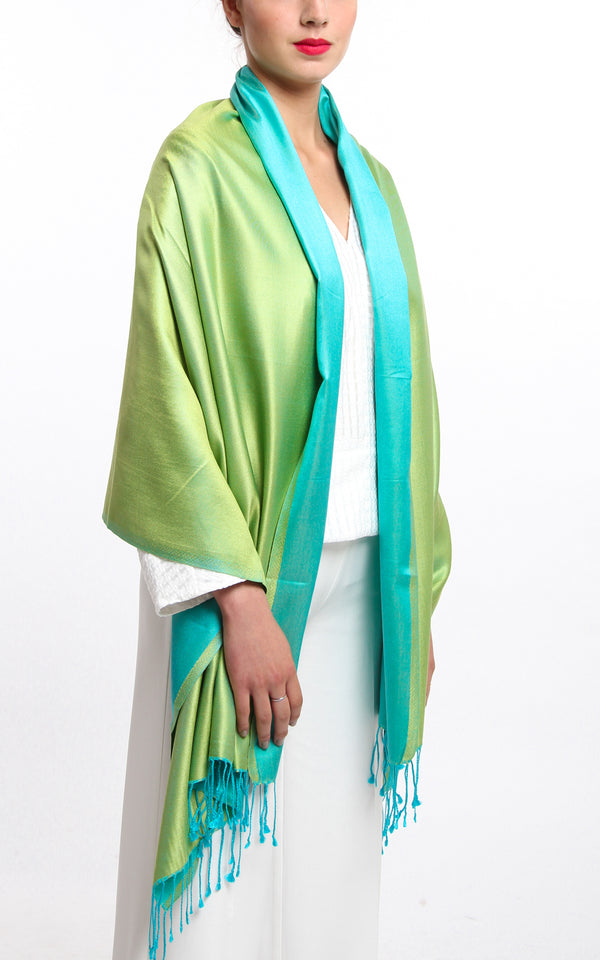 Luxury 100% pure silk lime green turquoise reversible pashmina draped around shoulders