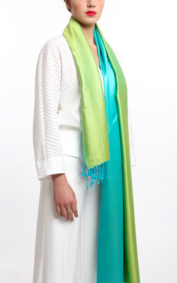 Luxury 100% pure silk lime green turquoise reversible pashmina with tassels