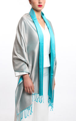Luxury 100% pure silk silver turquoise reversible pashmina draped around shoulders