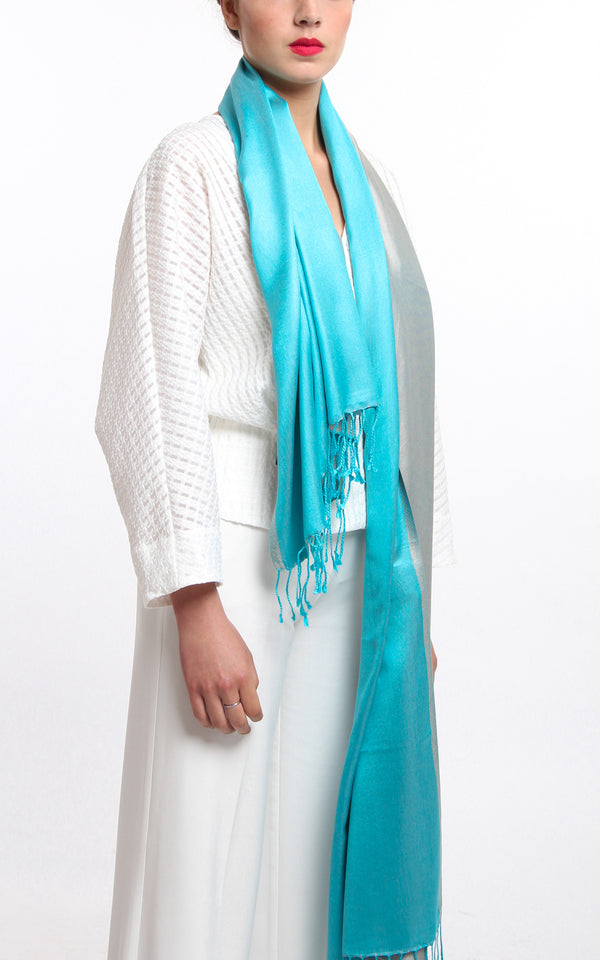 Luxury 100% pure silk silver turquoise reversible pashmina with tassels