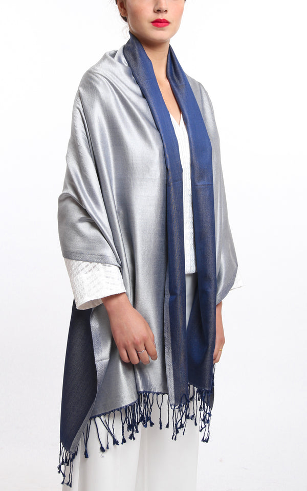 Luxury 100% pure silk bright silver navy blue reversible pashmina draped around shoulders