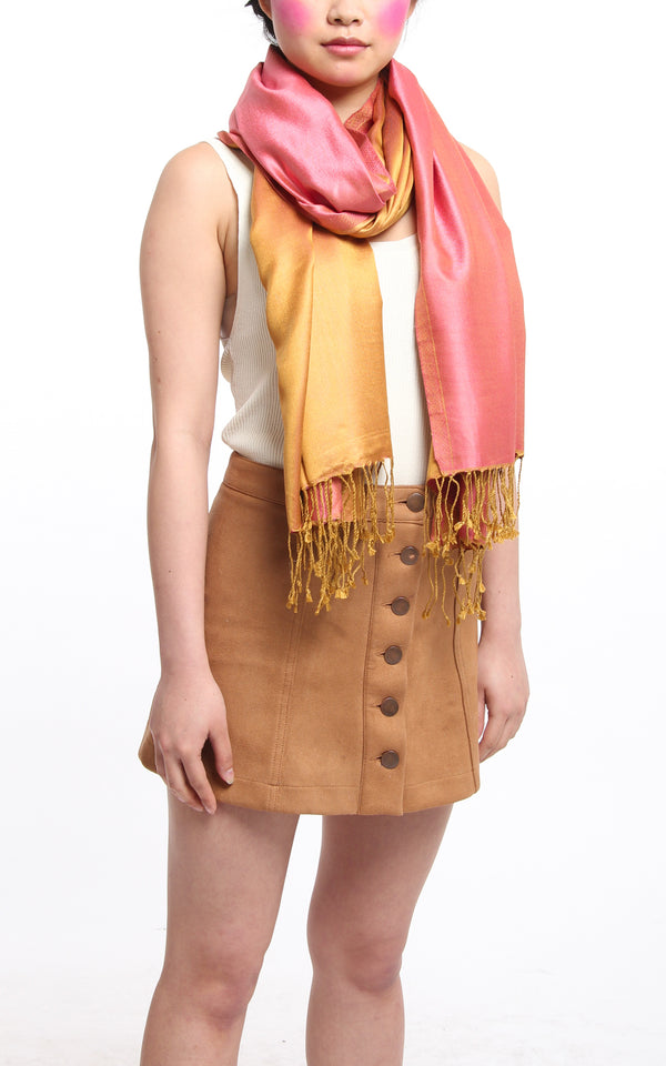 100% pure silk  orange pink reversible pashmina with tassels styled around neck