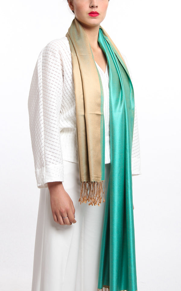 100% pure silk mint green gold reversible pashmina with tassels draped around neck