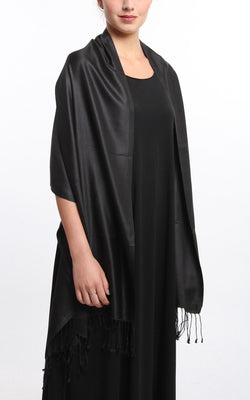Luxury 100% pure silk  black reversible pashmina draped around shoulders