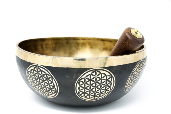 black gold hand crafted lotus Flower of Life Singing Bowl with stick inside