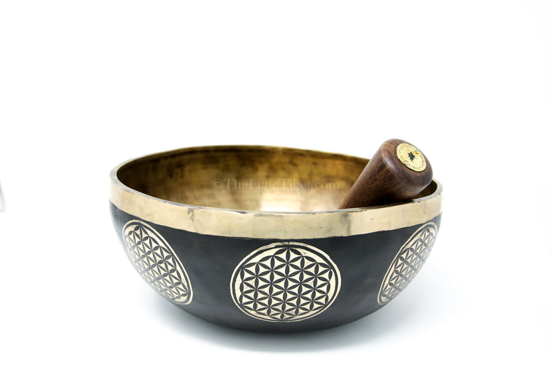 black gold hand crafted lotus Flower of Life Singing Bowl with stick