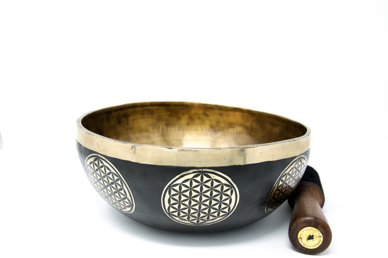 black gold hand crafted lotus Flower of Life Tibetan Singing Bowl