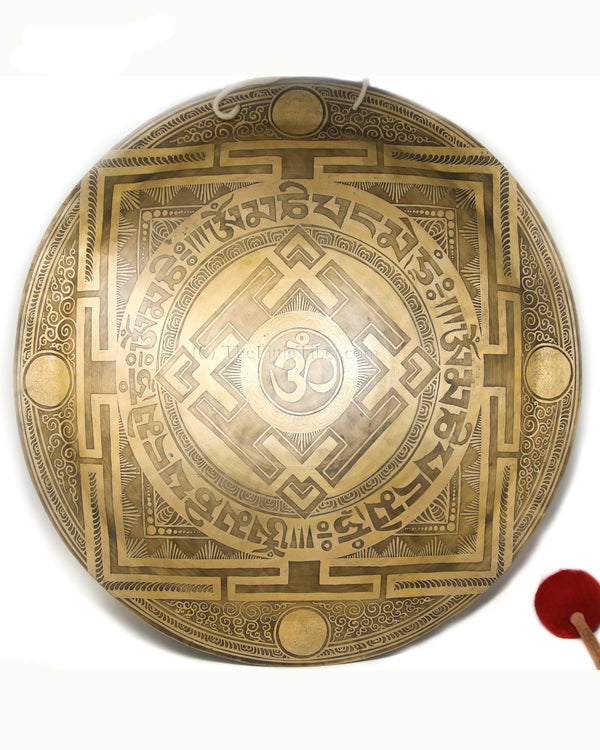 Large Mandala Gong, hand etching of mantra of Buddha of Compassion, The Little Tibet