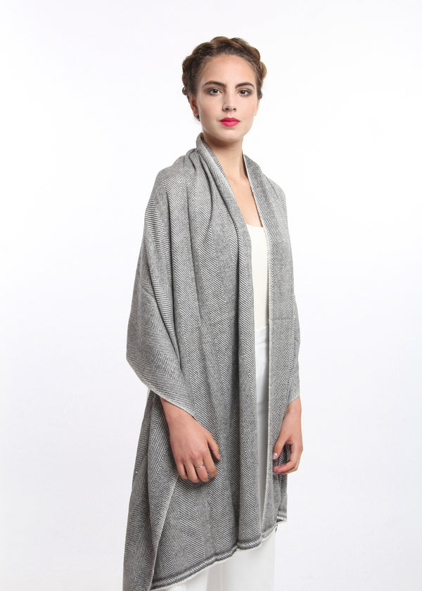 Dark Grey Cashmere Shawl, The Little Tibet