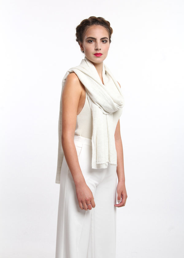 snoy white chevron  pattern  skinny 100% pure cashmere scarf free uk shipping