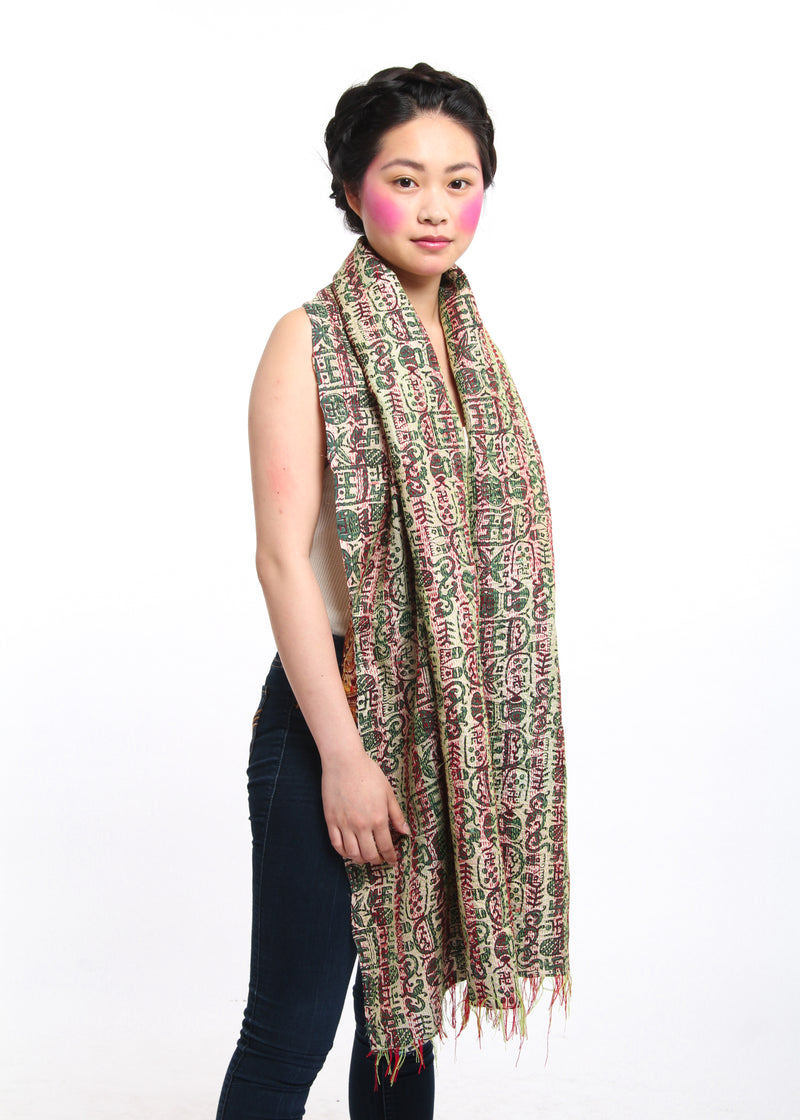 Jungle inspired handmade kantha scarf 100% raw silk draped around shoulders