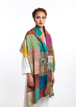 100% raw silk Patched work  colourful handmade kantha stitch scarf with green orange gold accents