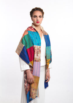 rainbow style reversible kantha stitching 100% raw silk scarf draped around shoulders