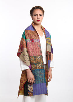 warm red blue patch work reversible kantha 100% raw silk scarf draped around shoulders