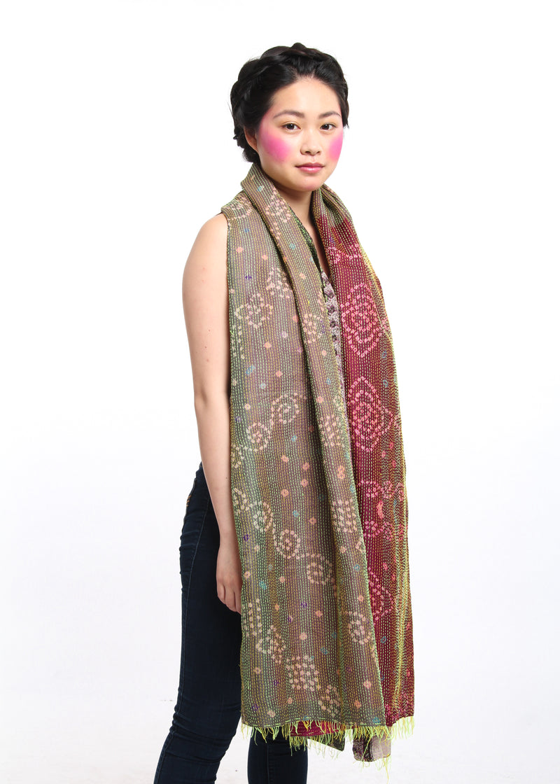 maroon red light brown regal reversible kantha 100% raw silk scarf draped on shoulders